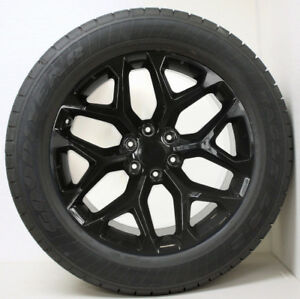 Chevy 20 Gloss Black Snowflake Wheels Rims Tires Silverado Suburban Tahoe Z71