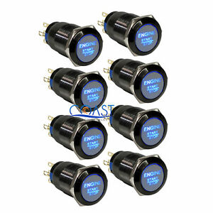 8x Durable 12v Blue Led 19mm Black Momentary Engine Start Push Button Switch