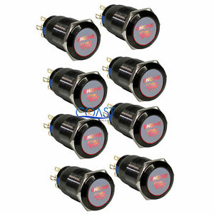 8x Durable 12v Red Led 19mm Black Momentary Engine Start Push Button Switch
