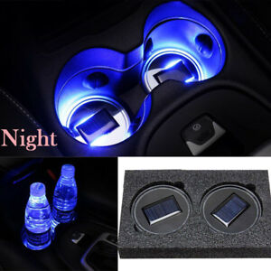 2pcs Solar Power Led Light Cover Trim Cup Holder Bottom Pad Car Interior Lamp
