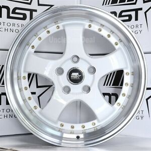 Staggered 5x114 3 18x8 5 18x9 5 20 Mst Mt07 5 Spoke White Gold Rivet Wheels Set