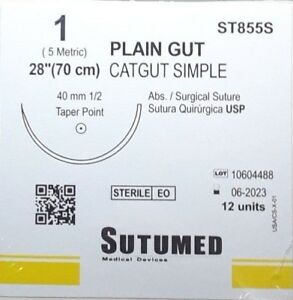 Sutumed Plain Gut 1 1 2 40mm Taper Point Surgical Suture
