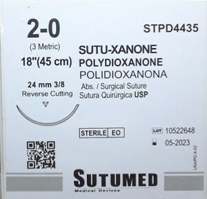 Sutumed Polydioxanone 2 0 3 8 24mm Reverse Cutting Surgical Suture