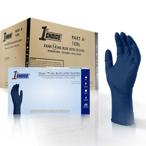 1st Choice Blue 14 mil Thick Latex Disposable Gloves 500 ct Powder Free Exam