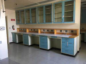 Overhead Lab Cabinets Blue With Glass Sliding Doors 47 x47 x12
