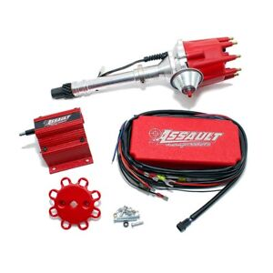 New Sbc Bbc Chevy 327 350 396 454 Pro Billet Vacuum Advance Red Cdi Ignition Kit