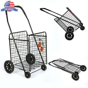 Folding Supermarket Shopping Trolley Shopping Cart With Metal Black Frame Basket