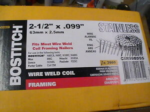 3600 2 1 2 X 099 Stainless Steel Bostitch Coil Nails ring Shank Framing