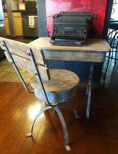 Vintage Old Wood Metal School Desk Detached Steampunk Adjustable Swivel Chair
