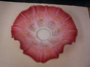 Pink Cased Glass Enameled Scrolls Flowers Ruffled Brides Bowl