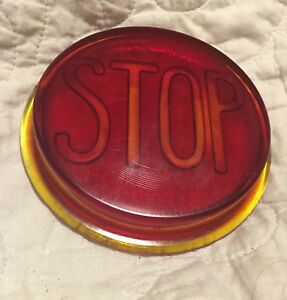 Round Antique Vintage Car Red Stop Tail Light Heavy Glass Old Hot Rat Rod