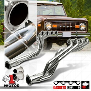 Ss Long Tube Exhaust Header Manifold For 66 77 Ford Bronco 289 302 4 7 5 0 V8