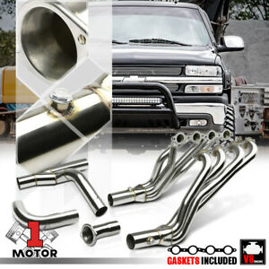 Ss Long Tube Exhaust Header Manifold y pipe For 02 06 Chevy gmc Gmt800 4 8 5 3