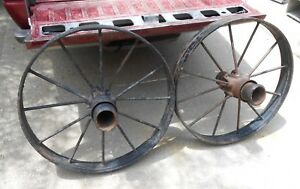 Antique Iron Spoked Wagon Implement Wheels Cast Iron Hub Horse Drawn Superb Cond