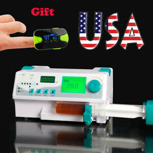 Portable Digital Injection Infusion Syringe Pump Injector Audible Visual Alarm A