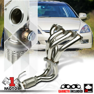 Stainless Steel Exhaust Header Manifold For 03 07 Honda Accord 2 4 4cyl K24a4 I4