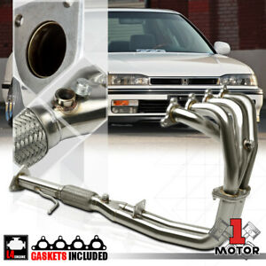 Stainless Steel 4 2 1 Exhaust Header Manifold For 90 93 Accord 2 2 F22a F22 4cyl
