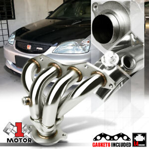 Stainless Steel 4 1 Exhaust Header Manifold For 01 05 Honda Civic Ex D17a 4cyl