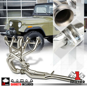 Ss Full Length Exhaust Header Manifold y pipe For 81 86 Jeep Cj7 cj5 4 2 258 I6