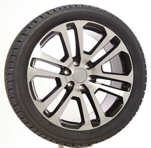 Chevy Silverado 22 Black Machine Split Spoke Wheels Rims Bridgestone Tires