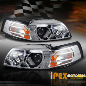 Must Have Ford Mustang 1999 2004 V6 Gt Cobra Chrome Projector Head Light Lamps