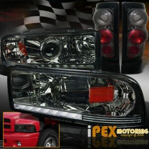 1994 2001 Dodge Ram 1500 2500 Projector Led Drl Smoke Headlight Tail Lights