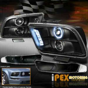 2005 2009 Ford Mustang Halo Projector Led Headlights Bumer Signal Light Black
