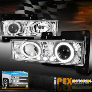 1988 1998 Chevy Gmc Silverado Suburban Tahoe Halo Projector Led Headlight Chrome