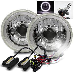 7 Round Chrome White Smd 3d Halo Ring Tube Projector Headlights 6000k H4 2 Hid