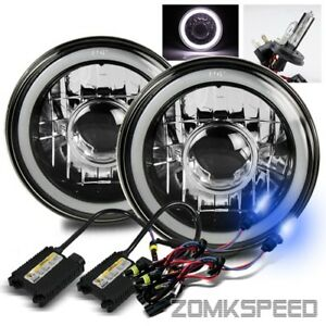 7 Inch Round Black Crystal White Smd 3d Tube Projector Headlights 10000k H4 Hid