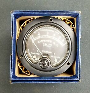 Weston Amperes Gauge Usn Type Flush Bake Lite Nos