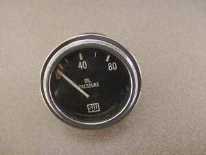 Vintage Stewart Warner Oil Pressure Gauge Curved Glass Large Block Rat Hot Rod