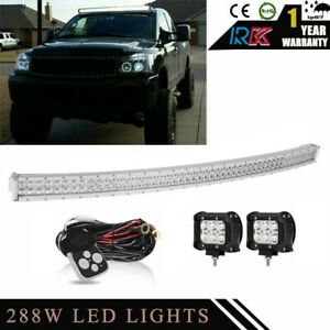 50 Curved Led Light Bar For 2005 2016 Nissan Frontier Upper Roof 4 Pods Cube