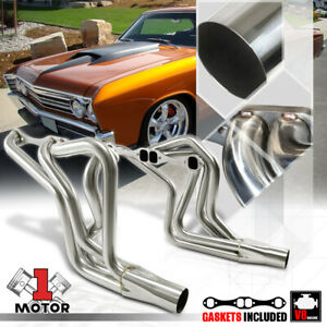 Ss Long Tube Exhaust Header Manifold For 70 87 Chevy Sbc 267 400 Small Block V8