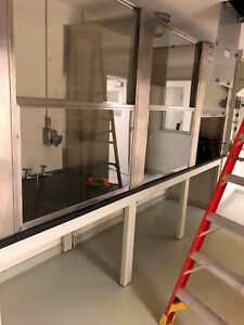3 Section Glass fume Hood Partition With Benches 1 Pallet