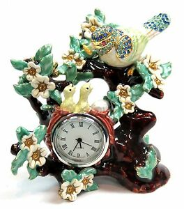 Birds On Tree Desk Clock Hand Painted Birds Desk Clock With Crystals