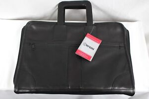 New Winn Full Grain Leather Portfolio W removable 3 Ring Binder Black 5458