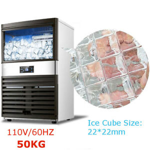 50kg 110v Commercial Ice Cube Maker Machines Freezers Frozen Bar 300w Us Plug