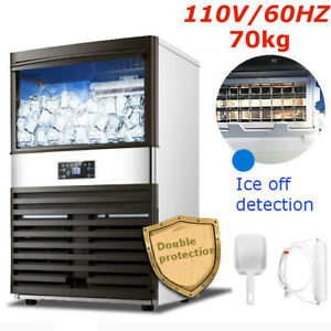 70kg 110v Commercial Ice Cube Maker Machines Freezers Frozen Bar 500w Us Plug