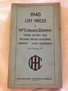 1940 Mccormick deering List Price Catalog For Farm And Dairy Machinery Ih Engine