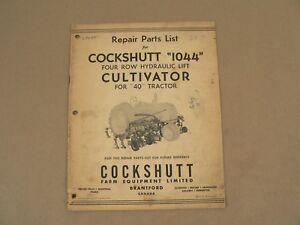 Service Repair Parts List Cockshutt 1044 Cultivator For 40 Tractor Vintage 1952