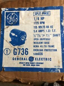 Ge 1 4 Hp 1725rpm Electric Motor 5xbg036 1 phase 115 Volt
