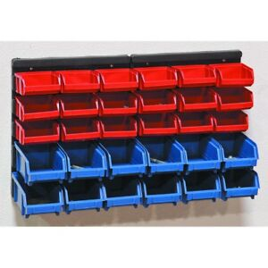 30 Bin Wall Mount Parts Rack Organize Nuts Bolts Rugged Polypropylene Bins