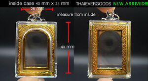 Empty Acrylic Somdej Case Gold Frame Good Grade Thai Amulet Size 40 Mm X 28 Mm