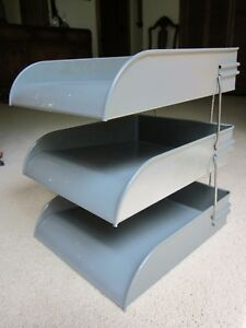 Vintage Gw System Gray Retro Metal Desk File Paper 3 Tier Trays