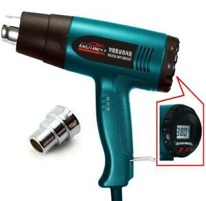 Smart Control Heat Gun Wrapping Heater Nozzle Lcd Display Hot Air Power Tool New