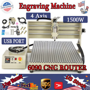 Usb 4 Axis 1 5kw Cnc 6090 Router Engraver Machine Drill 3d Cutter Water cooling