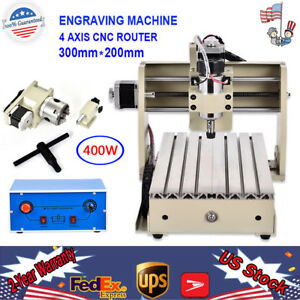 300w 4 Axis Mini Cnc 3020 Router Engraver Drilling Diy 3d Carving Cutter Desktop