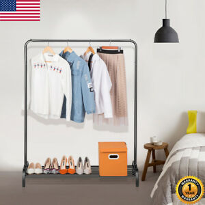 Garment Rack Heavy Duty Clothes Hanger Shelf W Top Rod lower Storage Shelves