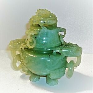 Antique Qing Chinese Carved Jade Tripod Censer Lid Incense Burner Dragon 5 Rings